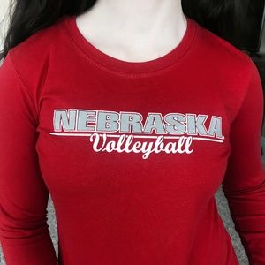 Husker Volleyball Red Long Sleeve Tee